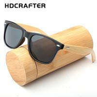 espejo de bambú enmarcado al por mayor-HDCRAFTER marca las gafas de sol de bambú de los hombres de moda gafas de sol cuadradas de las mujeres marco de madera gafas de sol con espejo para los hombres UV400 mulit