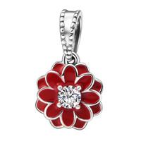 flores da dália vermelha venda por atacado-Blooming Dahlia Charme Pingentes Authentic 925 Sterling Silver Red Esmalte Flor Encantos Beads Para Fazer Jóias DIY Marca Pulseiras HB620