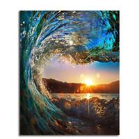 okyanus yağlı boya toptan satış-Akrilik Yağlıboya Vintage Renk Wonderland Okyanus Ufuk Sunrise DIY El Boyalı Keten Kumaş Çerçevesiz Resim Sergisi 12 48l ...