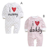 Wholesale daddy baby clothes - Funny baby boy girls newborn infant romper I LOVE DADDY MUMMY clothing set toddler fashion jumpsuits
