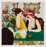 Wholesale tarkay oil painting - Itzchak Tarkay Sarra and Hana Lady Cafe Portraits Art,Handpainted  HD Print Wall Art Oil Painting On Canvas.Multi Custom Sizes  Frame It64