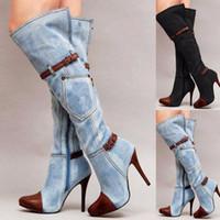 bottes à talon haut achat en gros de-Femmes Stretch Slim Cuisse Bottes Sexy De Mode Sur Le Genou Talons Chaussures Chaussures Boucle Ceinture À Talons Aiguilles Bottes D'hiver DA220