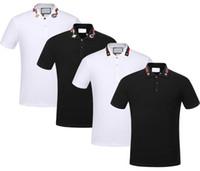 mans polo tişörtleri toptan satış-Marka Yeni Bahar Yaz sonbahar erkekler rahat polo gömlek t shirt erkekler polo tişörtleri yılan arı nakış Yüksek sokak mens polos t-shirt