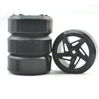 treibende teile großhandel-1/10 RC Crawler Zubehör 4PCS Kunststoff Felge und Gummi 1:10 Bevel Drifting Reifen driftet flach läuft Reifen Teile