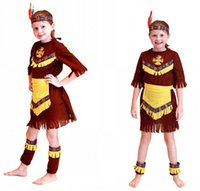 Wholesale indian costume kids for sale - Girls kids Indian princess cosplay dress with headwear hunting costume stage show role play cosplay for party HC21