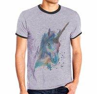at üstü baskı toptan satış-Erkekler Için rahat T-Shirt At Kafatası Aslan Komik Baskı Gri T-Shirt Ekip Boyun Yaz Moda Tasarım Tops