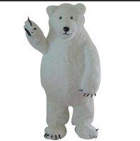 kutup ayısı kostümleri toptan satış-2018 Sıcak yeni Custom Made Beyaz Kutup Ayısı Maskot Kostüm Beyaz Ayı Maskotu Özel