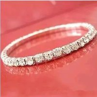 Wholesale Rhinestone Crystal Elastic Bracelet - Hot sale Elastic 1 Row Sliver plated Crystal Bangle Bridal Bracelets Party Jewelry 2018 Bridal Jewelry