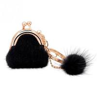 Wholesale Plush Rabbit Purse - Rabbit Fur Ball Plush Car Key Chain coin purse Women Pompon Fur Plush Holder Girls hand Bags Charm Women purse wallet