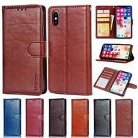 iphone orijinal deri cüzdanlar toptan satış-Iphone x 7 plus s8 s9 için 2018 gerçek hakiki deri cüzdan kredi kartı tutucu standı case kapak için iphone 8 5 6 s