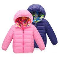 ropa de invierno para niños al por mayor-3-7T ropa para niños inversa usar prendas de vestir abrigos abrigo de invierno chaqueta de esquí para niñas 2018 ropa para niños niños prendas de vestir exteriores