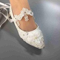Wholesale Eu Dresses - Women Wedding Flat shoes Waterproof white lace bride wedding dresses HEEL diamond lace manual wedding BRIDAL shoes SIZE EU 35-42