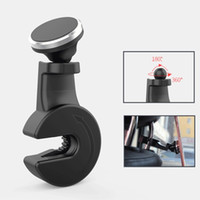 Wholesale universal headrest - Universal Magnetic Car Phone Holder Auto Car Back Seat Hook phone stand Car Rear Seat Headrest Bracket for Tablet for iphone Samsung