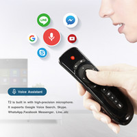 Wholesale android stick keyboard - 2018 Latest air fly mouse keyboard voice remote control for android box smart tv IR Learning 3D motion stick T3 2.4GHz wireless air mouse