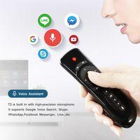 t2 uzaktan toptan satış-2019 2.4G kablosuz klavyeler android kutu akıllı tv IR Öğrenme 3D hareket sopa için kablosuz fare ve klavye sesi uzaktan kumanda den T2