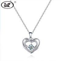 красивые элегантные подвески оптовых-WK Beautiful Love Heart Pendant Silver Necklace For Women Ladies Elegant Charm Jewelry Gift 18 Inch Link Chain Collares SW NZ048