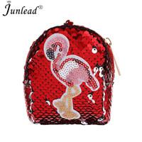 monedero lindo barato al por mayor-Junlead Nueva Brillante Lentejuelas Mujer Flamingo Barato Monedero de Bolsillo Cambio de Monedero Para Chica Llaveros Lindo Elegante Tarjeta Monedero