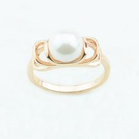 Wholesale 585 ring - FJ Women 9mm Wide Simulated Pearl Rings 585 Light Rose Gold Color Round Ball Fashion Rings