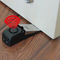 Wholesale security door stops resale online - 120dB Mini Wireless Vibration Alarm Door Stop Alarm for home Wedge Shaped Stopper Alert Security System Block Blocking System
