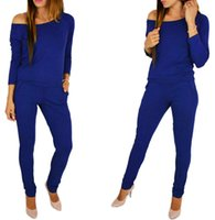 156a6f8ef23a 2018 autumn Womens Sexy Stretchy Jumpsuit Overalls Long Sleeve Casual  Rompers Summer Off Shoulder Jumpsuits Playsuit Bodysuit. 34% Off