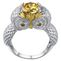 ingrosso anelli nuziali del gufo-Big Yellow CZ Zircon Stone Silver Cute Owl Anelli per le donne Anelli di fidanzamento di nozze