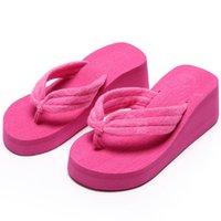 Wholesale Ladies Canvas Shoes Wholesale - SIZE 42 Fashion Summer Women Wedges Sandals Platform Slippers Beach Shoes Ladies Flip Flops Thick Heel