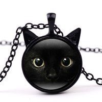 Wholesale wholesale black cat pendants - 3 Colors Black Cat Glass Cabochon Necklace Animal Cat Face Frame Time Gemstone Jewelry Fashion Gift for Kids Gifts Drop shipping