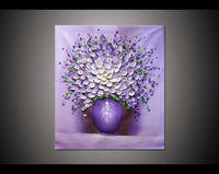 lienzo flor púrpura arte de la pared al por mayor-24x32 pulgadas pintado a mano decoración del hogar cuelgan la imagen del arte blanco florero púrpura de la flor cuchillo de paleta grueso lona pintura al óleo por Lisa