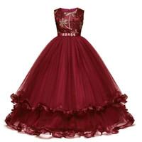 vestido de dama de honra venda por atacado-Crianças Fantasia Menina Pétalas De Flor Crianças Vestido de Dama De Honra Outfits Vestido Elegante para a Menina Vestido de Festa de Baile Vestido de Princesa Traje