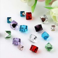 Wholesale cube art - 4mm 20pcs Cube Multicolor Nail Art Rhinestone Glass Non Hotfix Rhinestone Nail Art Crystal Different Style Strass H0912