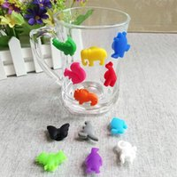 Wholesale label marker - 12pcs set Party Dedicated Animal Suction Cup Marker Silicone Wine Glasses Recognizer Many Kinds Of Animals Cup Label