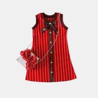 Wholesale Girls Tutu Skirts Patterns - 2018 Summer Wear New Pattern Children's Garment Children Pure Cotton Stripe Vest Skirt Girl Bow Princess A Piece Of Generation