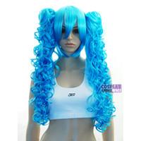 ingrosso parrucche blu cielo-Sky Blue 0.6m Parrucca Cosplay + Clipon Coda di cavallo riccia lunga 96/006