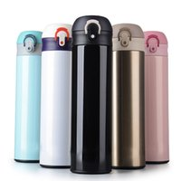Wholesale press sleeves - 2018 New Stainless Steel Travel Mug Water Vacuum Insulated Thermal Cup Bottle 500ML Double Vacuum Drink Tea Cup Kettle WX9-306
