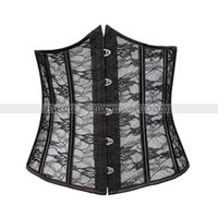 ingrosso corsetto sottoposto disossato in acciaio nero-Pizzo nero disossato in vita Cincher Underbust Corsetto Lace Up Waspie Bustier Busks in acciaio basco S M L XL 2XL