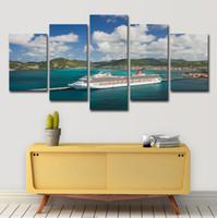 grandes pinturas de lienzo al por mayor-Lienzo Arte de la pared HD Imprime Imágenes Modulares 5 Unidades Gran Barco Crucero Barco Paisaje Marino Sala de estar Decoración Cartel