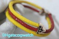 brazalete amarillo al por mayor-Stingray pulsera de cuero genuino rojo amarillo con oro rosa metal 18 19 20cm brazaletes de los hombres joyas de colores de moda de lujo