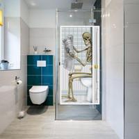 etiqueta de vidrio de la puerta al por mayor-Adornos decorativos de Halloween Cráneo de terror Zombie Etiqueta de la puerta de vidrio Transferencia de agua estática Etiquetas engomadas de la impresión