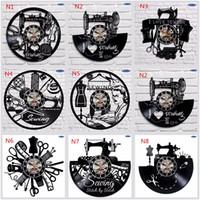 Hot selling Sewing Salon Wall Clock, Tailoring Vinyl Record Clock 12inch(30 cm), Tailor Gift (Black clockface)