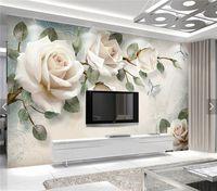 pastoral duvar kağıdı toptan satış-Avrupa Duvar Kağıdı Beyaz Gül Çiçek Duvar Fotoğraf Duvar Kağıtları Oturma Odası Duvar Kağıdı 3D papel pintado pared rollos papel de parede
