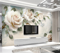 Wholesale rose murals - European Wallpaper White Rose Flower Mural Photo Wallpapers Living Room Wall Paper 3D papel pintado pared rollos papel de parede