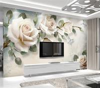 fondos de pantalla europeos al por mayor-Papel pintado europeo White Rose Flower Mural Photo Wallpapers Living Room Papel de pared 3D papel pintado pared rollos papel de parede