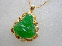 grüne jade buddha anhänger halskette großhandel-Großhandel Smaragdgrün Jade Buddha Gelb Vergoldet Kristall Anhänger Halskette
