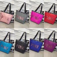 Wholesale shiny tote bag online - Pink Letter Handbag Sequin Shiny Women Shoulder Bags Waterproof Travel Beach Shopping Bag Secret Duffle Bags Tote