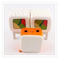 brinquedos macios japonês venda por atacado-Kawaii Jumbo Squishy Squishies Japonês Sushi Lento Rising Anti Stress Brinquedos Food Squishy Telefone Celular Encantos Descompressão Toy Bag KeyChains