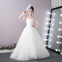 Wholesale wedding dresses small trains resale online - White Ivory Flower Girl Dresses For Weddings Lace Long Sleeve With Small Train Prom Party communion Dresses Formal Occasion