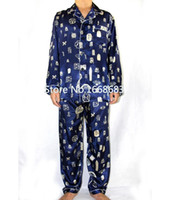 2aafacb638 Navy Blue Chinese Men Silk Pajamas Suit Autumn New Long Sleeve Pyjama Set  Casual Sleepwear 2PCS Size S M L XL XXL XXXL S0045