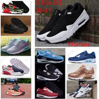 Wholesale Cheap Ladies Sneakers - Drop Shipping Ladies Sports Shoes Women 90 Gold Navy Blue Wine Red 87 Zero QS Leopard Casual Sneakers Cheap Athletic Run Trainers