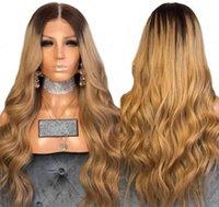 tonlar ombre saç 27 toptan satış-Tam Dantel İnsan Saç Peruk Ombre Iki Ton 1B / 27 Dalgalı Brezilyalı Bakire Saç 150 Yoğunluk Doğal Saç Çizgisi Tutkalsız Ağartılmış Knot