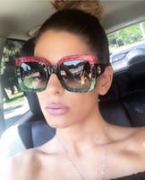 Wholesale unique mirrors - DPZ Luxury unique sunglasses women oversized square red sunglasses for women 2018 brand designer fashion retro green sunglass
